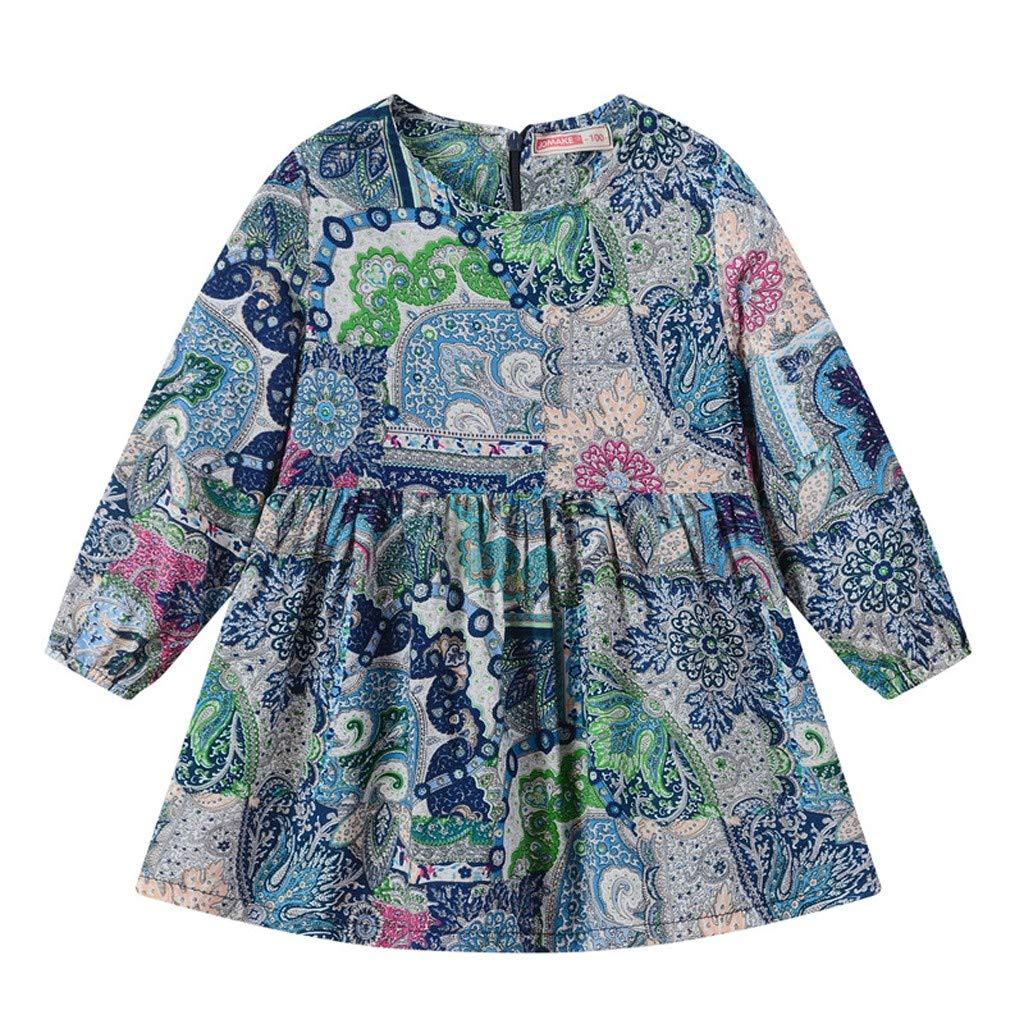 Boho Floral Print Long Sleeve Holiday Princess Dresses Clothes Tronet Little Girl Summer Dress