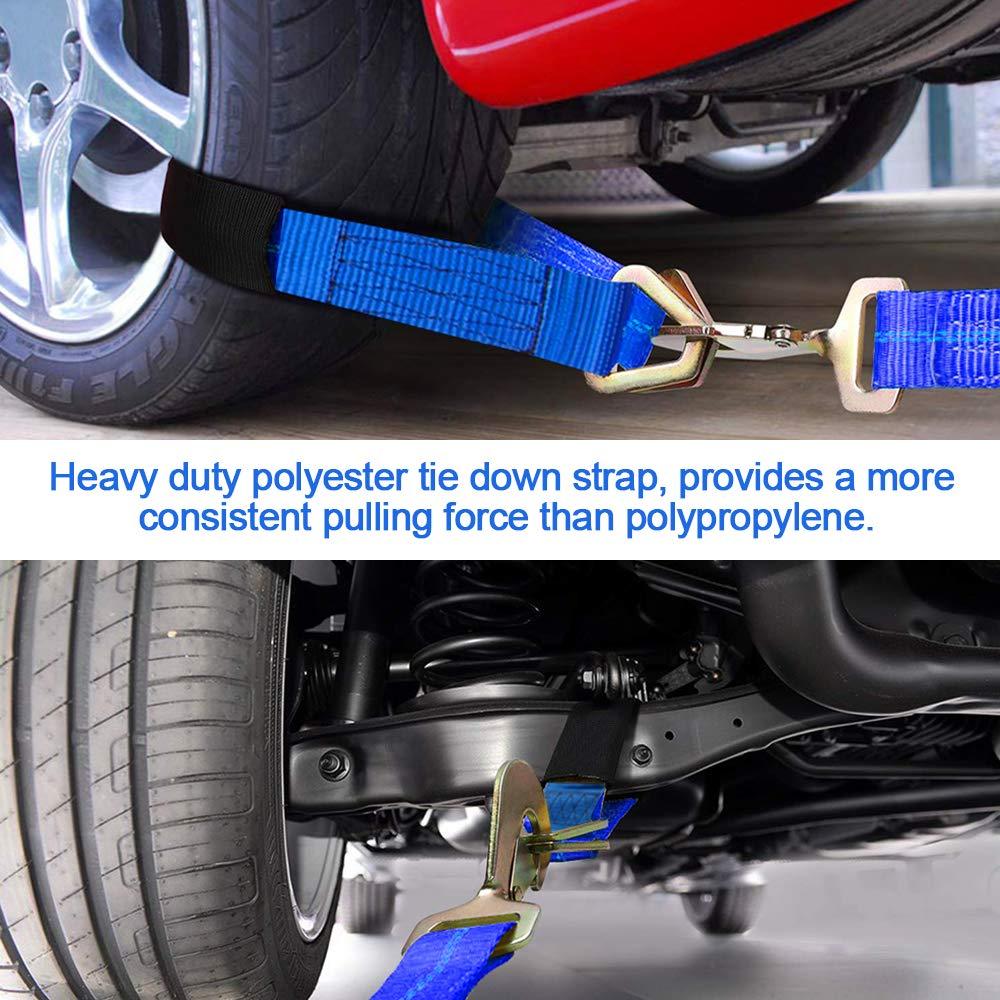 Bang4buck 2 x 24 4 Packs Universal Adjustable Axle Straps Auto Car Hauler Tie Downs Tow Wrecker for Demco Kar Kaddy Dollys