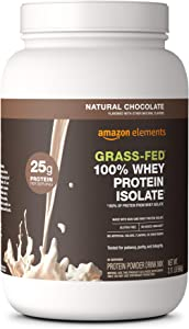 Amazon Elements Grass-Fed 100% Whey Protein Isolate Powder, Natural Chocolate, 2.11 lbs (30 Servings) (Packaging may vary)