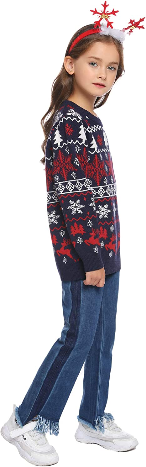 Abollria Kids Christmas Sweater Boy Girl Ugly Reindeer Pullover Sweater Long Sleeve Print Grinch Knit Elk Novelty Tops