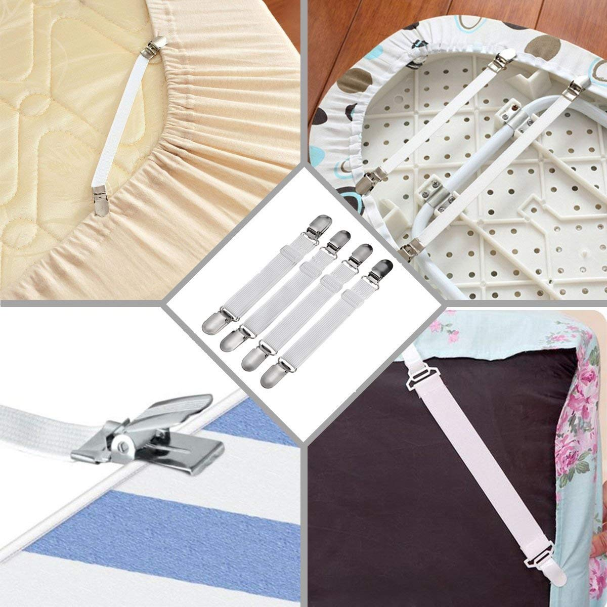 wongeto The Designs Adjustable Heavy Duty Bed Sheet Grippers Holders Cover Suspenders Set of 4