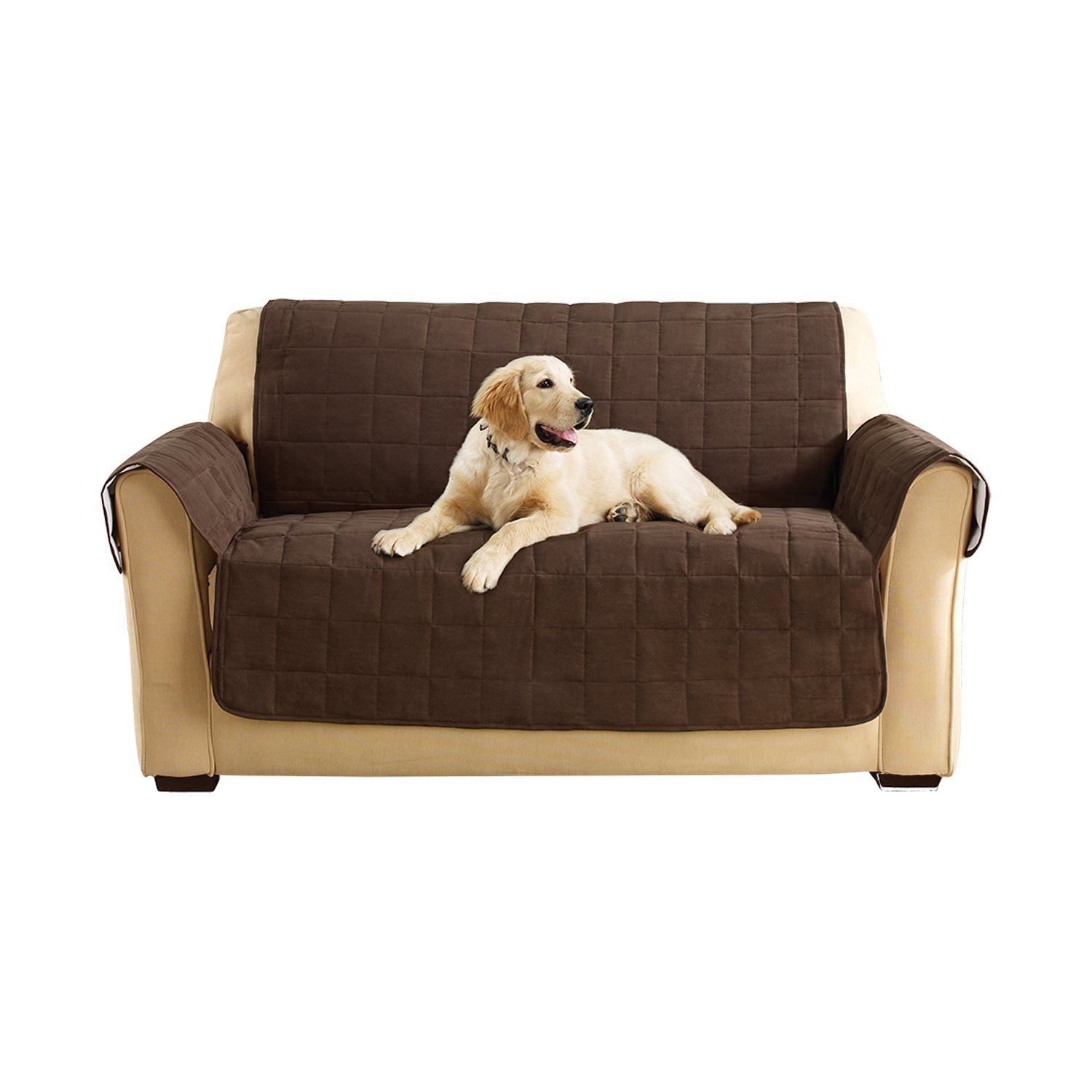 Sure Fit Ultimate Waterproof Quilted Throw - Loveseat Slipcover  - Chocolate (SF45304) by Surefit