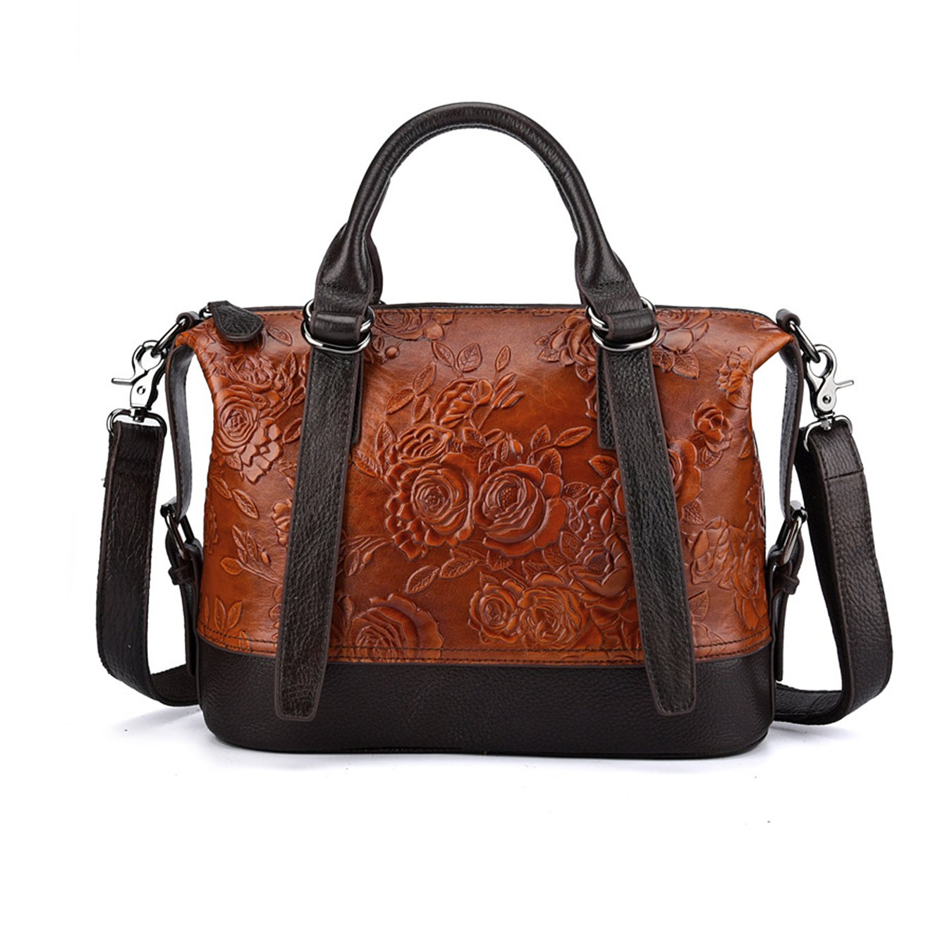 Crossbody Bag for Women Vintage Rose Top Handle Tote Purses Genuine Leather Satchels Handbag (brown)