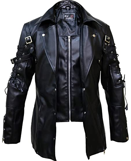 Punk Rave Poison Black Jacket Mens Real Sheep Leather Goth ...