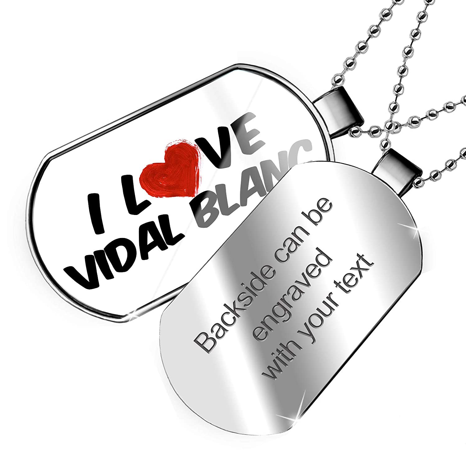 NEONBLOND Personalized Name Engraved I Love Vidal Blanc Wine Dogtag Necklace