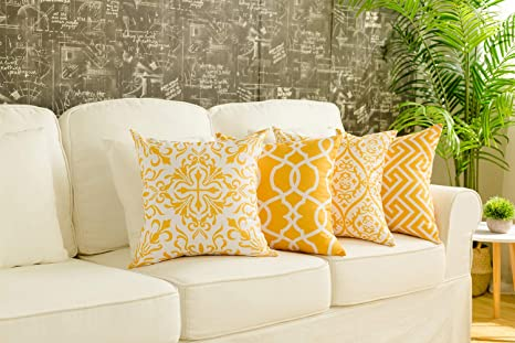 18x18, Grey Chirest 18x18 Pillow Covers,Lumbar Pillow Covers Cotton Linen Decorative Throw Pillow Covers for Sofa Couch Decoration,Orange Set of 2 18x18 Inch 45x45cm