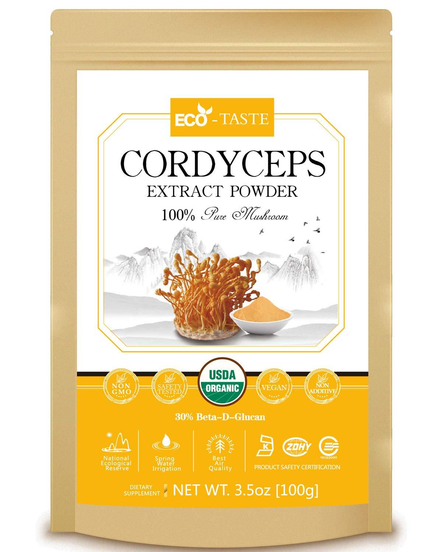 Cordyceps Mushroom Extract Powder 10 1,USDA Organic, 30 Beta-D-Glucan Supplement,3.5oz