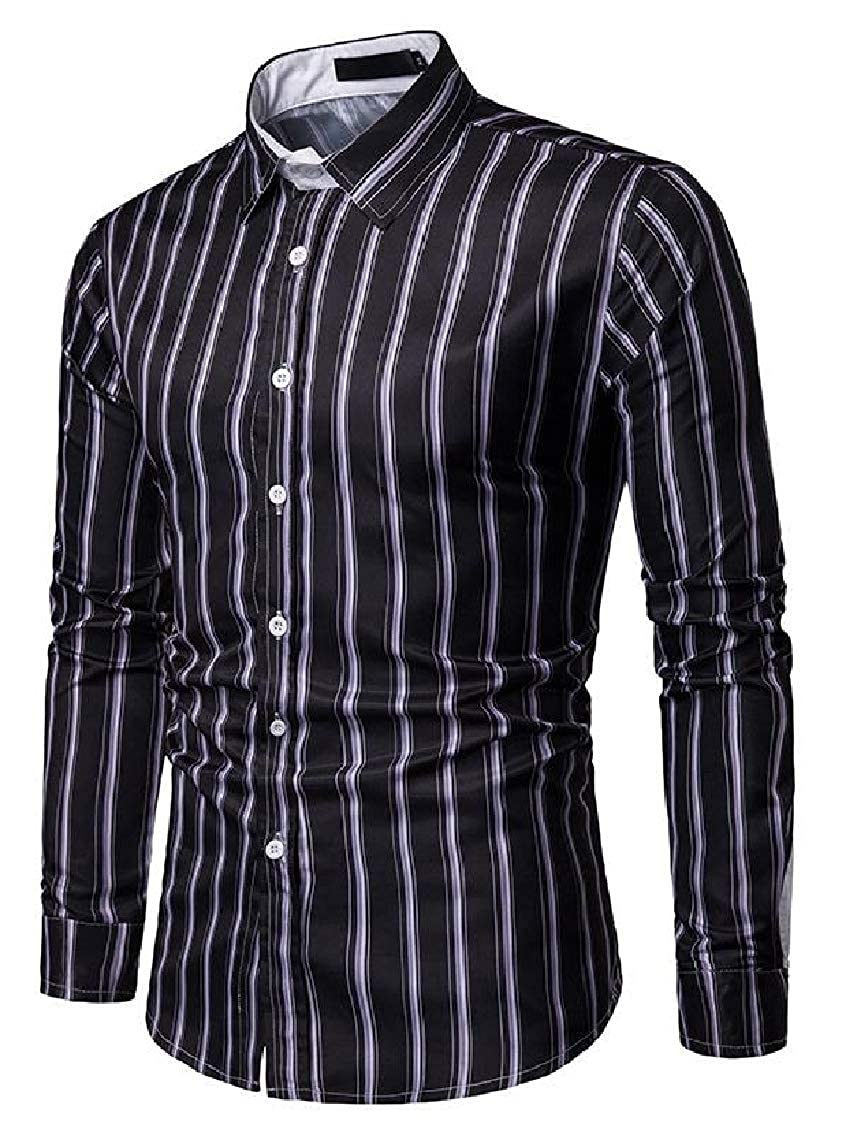 FreelyMen Vertical Stripes Bussiness Buttoned Peaked Collar Long-Sleeve Shirt