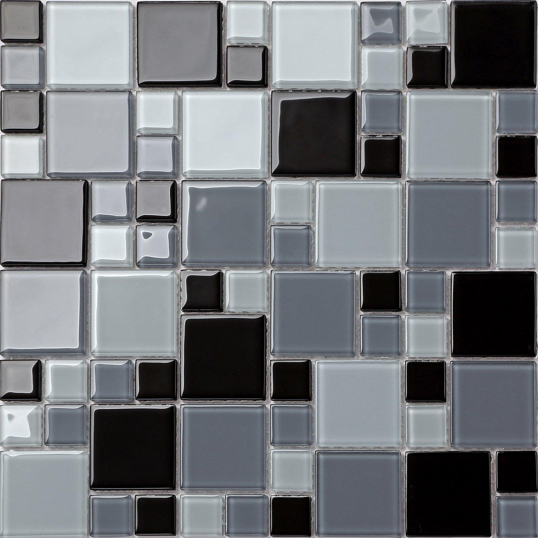 Verre mosaï que pierres carrelage Tapis en deux tailles Noir et Gris Tons (mt0012) GTDE