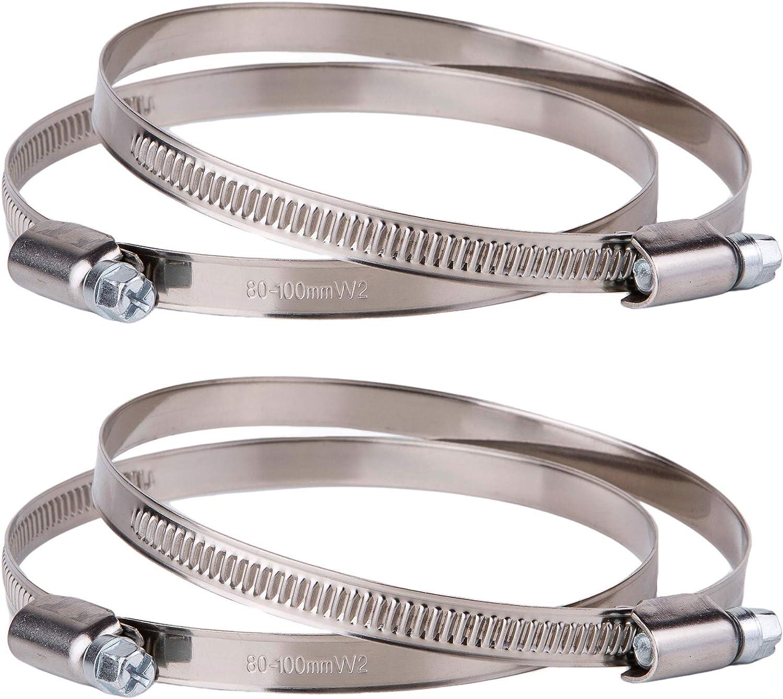 Lot de 4 colliers de serrage r/églables en acier inoxydable /Ø 80-100 mm