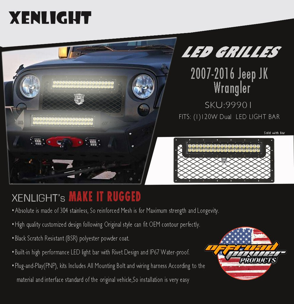 Xenlight Led Mesh Grille Light Kit With 120w Wiring Bar Jeep Jk For 2007 2016 Wrangler Automotive