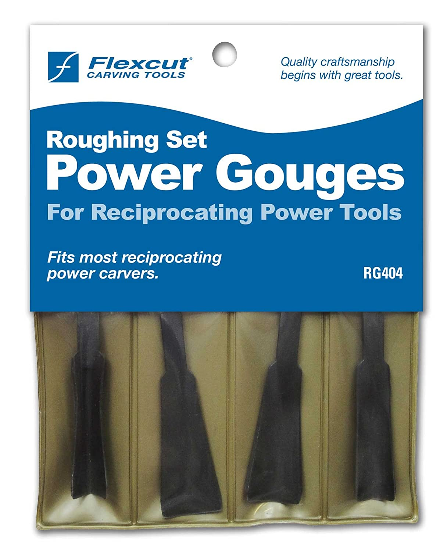 Flexcut Carving Tools, High-Carbon Steel, Roughing Power Gouge Tools, Set of 4 (RG404) Flexcut Tool Company. Inc.