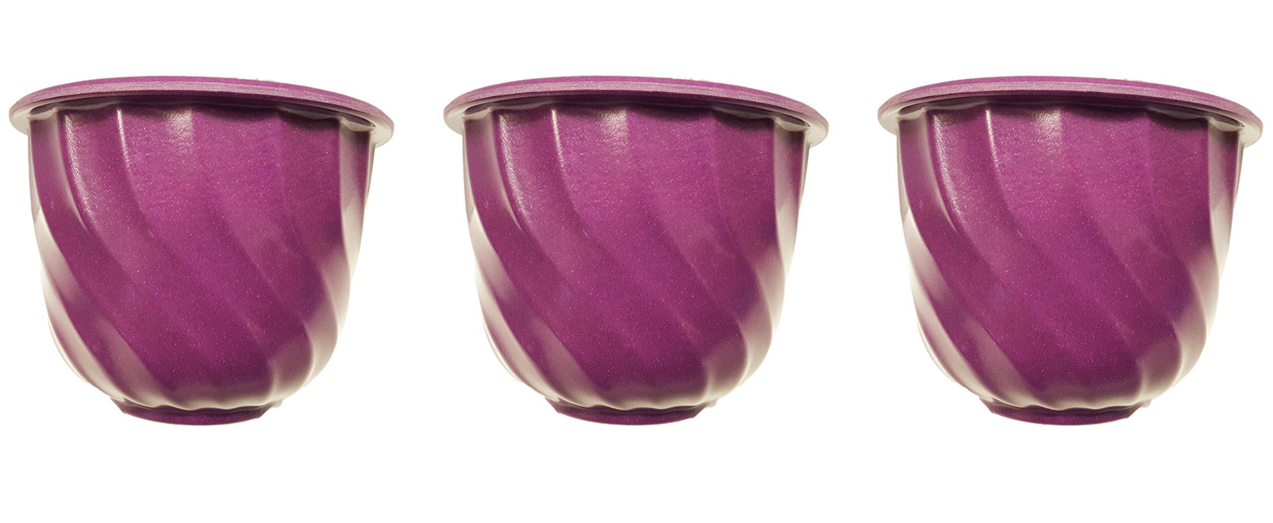 "Set of 3 Purple Round Swirl 6.75'' x 5"" Biodegradable Bamboo Fiber Planters (Purple)"