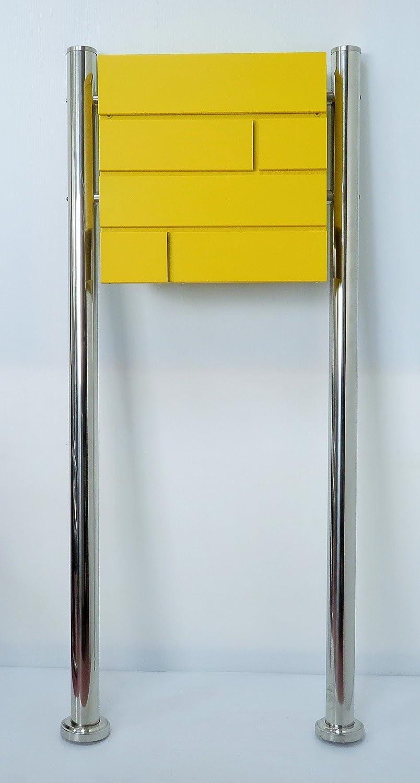 郵便ポスト郵便受け北欧風メールボックススタンド型マグネット付黄色ポストpm234s B071ZB15MF 18880