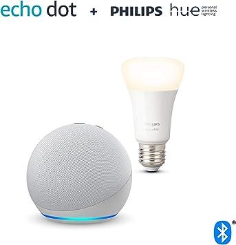 Nuevo Echo Dot (4.ª generación), Blanco + Philips Hue Bombilla Inteligente (E27), compatible co...