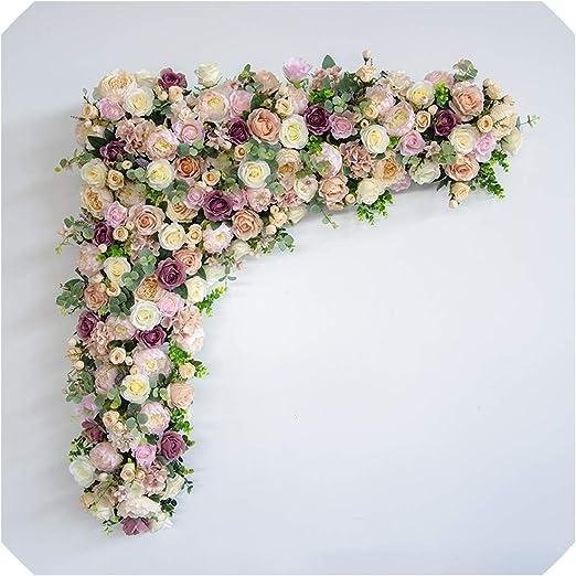 Amazon Com Diy Wedding Backdrop Decor Artificial Flower Wall Table Runner Floral Photography Props Hotel Silk Flower Row Arch Flower Arrangement Home Kitchen