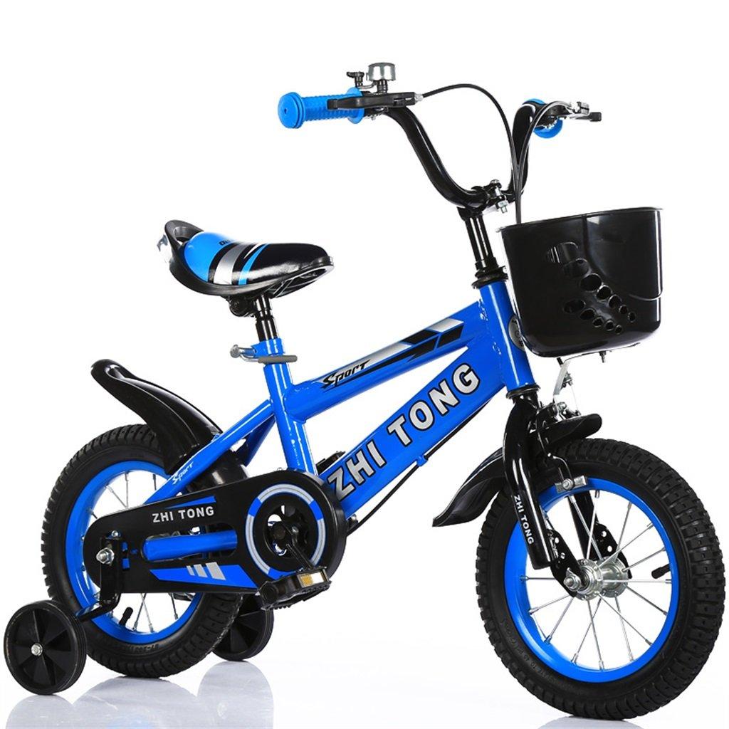 KANGR-子ども用自転車 子供の自転車アウトドアマウンテンバイク2-3-6-8ボーイズとガールズ子供用玩具調節可能ハンドルバー/トレーニングホイール付きサドル-12 / 14/16/18インチ ( 色 : 青 , サイズ さいず : 18 inch ) B07BTMJQHM 18 inch|青 青 18 inch