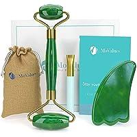 Rodillo Masajeador Facial de Jade, Piedra Gua Sha y Pincel de Silicona | Roller y Guasha en Cristal de Jade Verde 100…