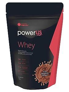 Powerus Whey Protein 1kg (Irish Chocolate), Whey Concentrate and Whey Protein Isolate with 24g Protein, 5.3g BCAA, 4.1g Glutamine