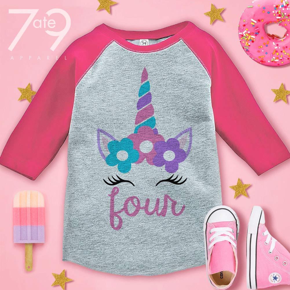7 ate 9 Apparel Girls Four Birthday Unicorn Raglan Tee Pink
