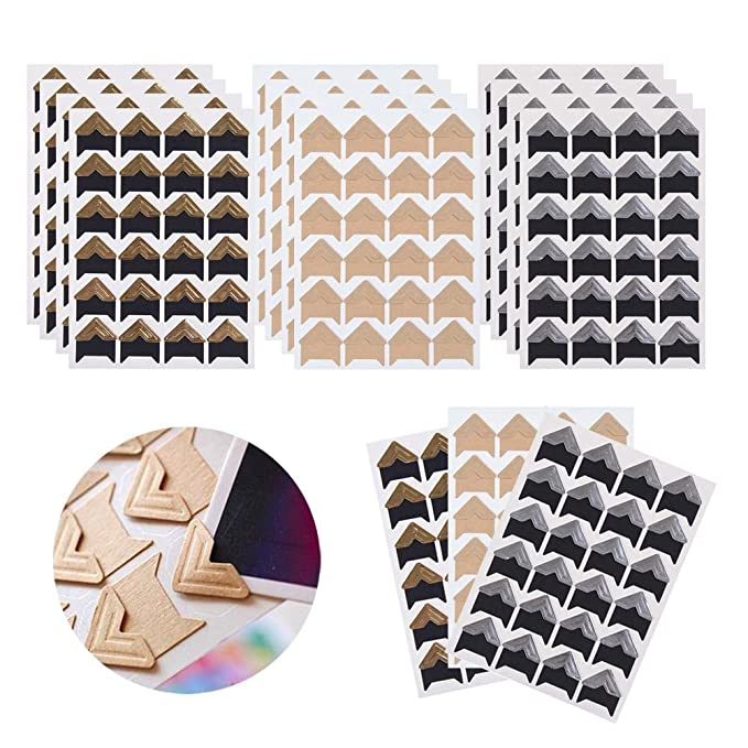 Dairy and More Personal Journal Black 120Pcs Self-Adhesive Photo Frame Corner Sticker Craft Decor Photo Mounting Corners for DIY Scrapbook Picture Album