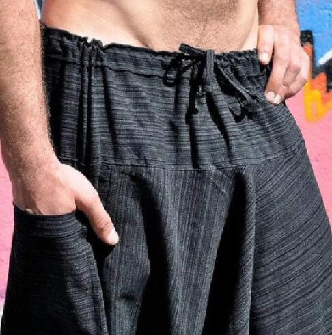 RRINSINS Mens Summer Elastic Waist Linen Capri Wide Leg Baggy Harem Pants