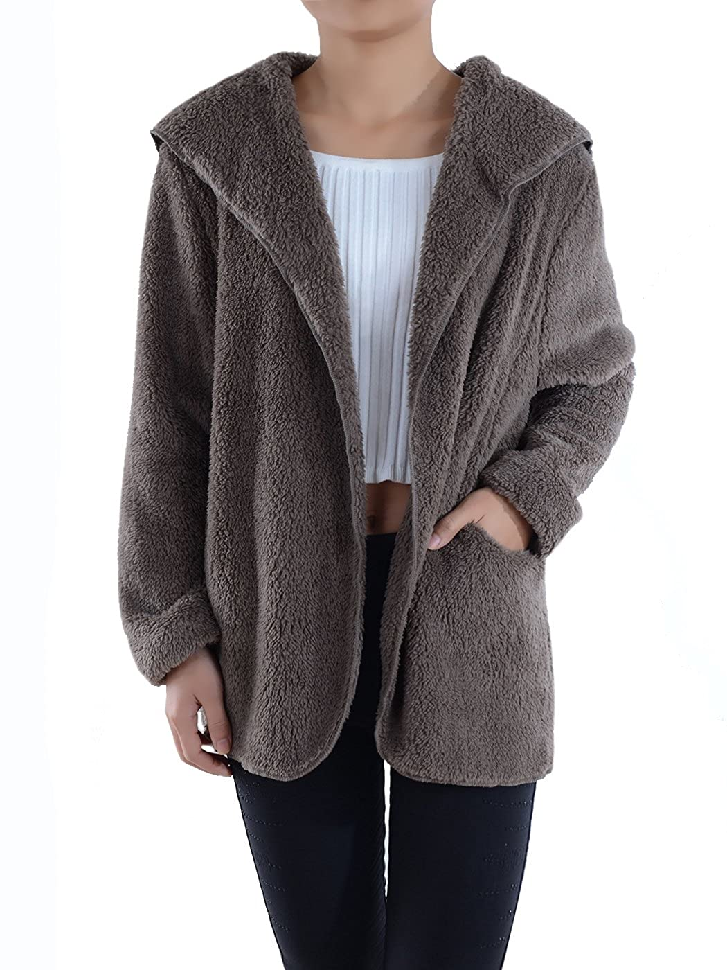 Anna-Kaci Lounge & Chill Hooded Fluffy Fleece Comfy Soft Teddy Coat Jacket Y91881P