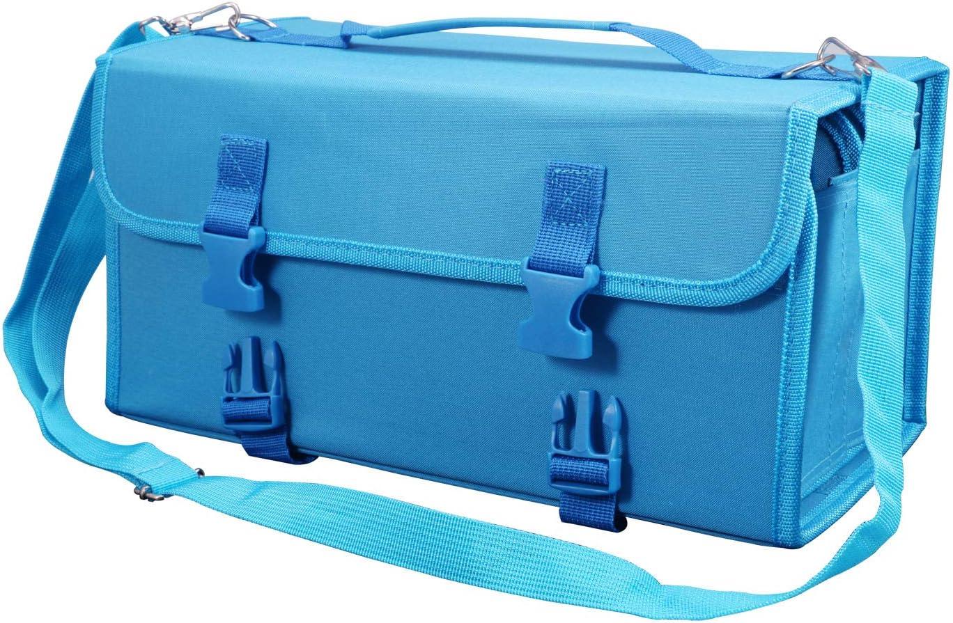 OMALOO Marker Case 120 Slots Markers Holder Storage Bag Lipstick Organizer with Carrying Handle Dry Erase Color Paint Markers Prismacolor Marker QR Buckle for Copic Marker Blue Shoulder Strap