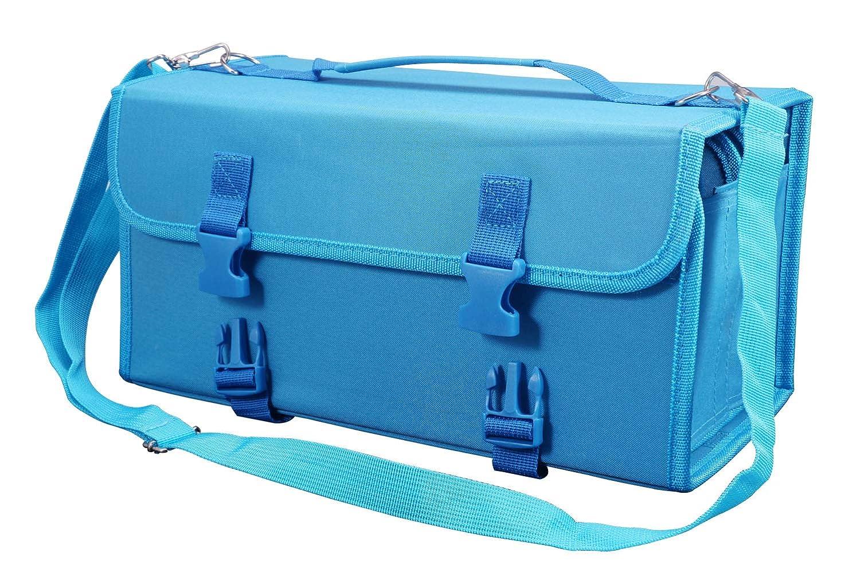 Omaloo Marker case 120 marcatori di carta Holder Storage Bag Lipstick organizer con maniglia, tracolla, QR fibbia per Copic, Prismacolor pennarello cancellabile a secco, colore vernice marcatori Blue