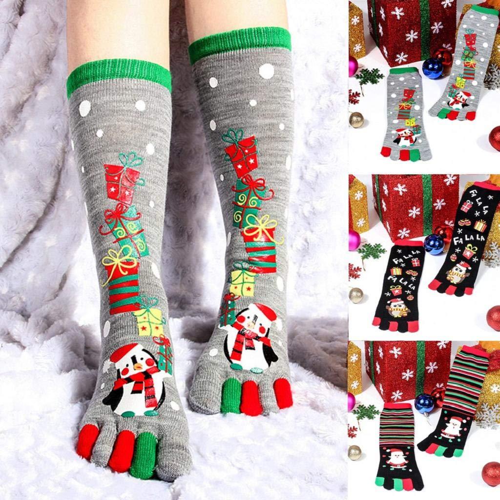 SHOBDW Mujeres Unisex Invierno Navidad Impresión Pingüino Multicolor Toe Calcetines Cinco Dedo Calcetines Calcetines de Algodón Térmico Fun Funky Novedad ...