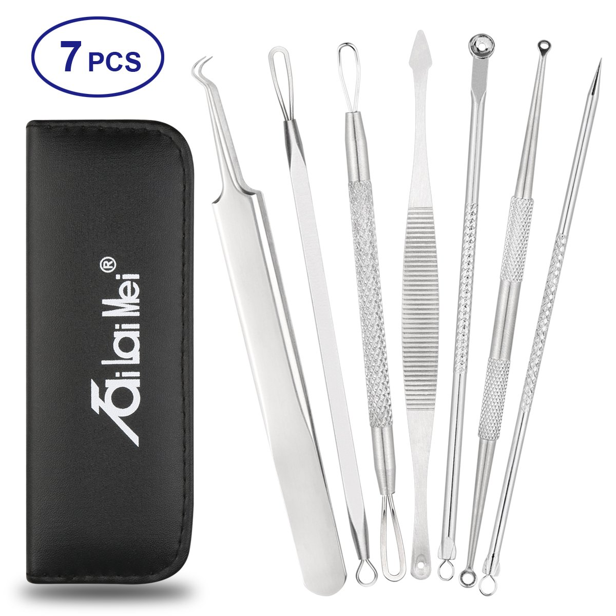 7-Piece Blackhead Remover Kit - Pimple Comedone Extractor Tool set for Facial Acne