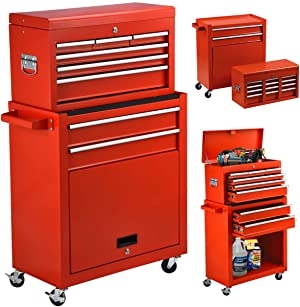 High Capacity 8-Drawer Rolling Tool Chest 2in1 Portable Tool Box Organizer with Drawers and Wheels, Garage Removable Tool Storage Cabinet (Red)