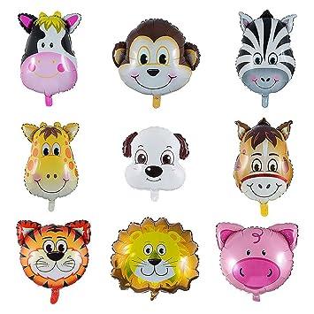 Vordas Welecoco Globos Animales,9 Piezas Animal Globos de Papel de Aluminio Animales De La Selva Globos Helio Animales Decoración de la Fiesta de ...