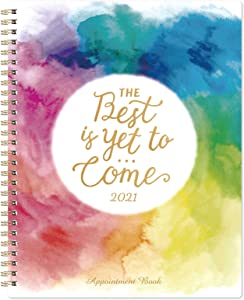 "2021 Appointment Book/Planner - 2021 Daily Hourly Planner, 8"" x 10"", Jan. - Dec. 2021, Weekly Appointment Book with 30-Minute Interval + Thick Paper + Round Corner + Twin-Wire Binding - Watercolor Ink"