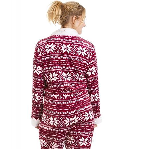 Camille - Pijama de una pieza suave para mujer - Estampado nórdico - rojo y blanco 46/48: Amazon.es: Ropa y accesorios
