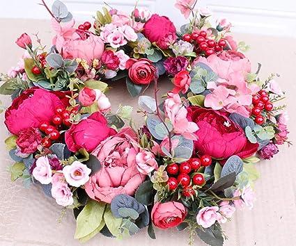 HBFYQ Ghirlanda Decorativa Europeo Rosso Rosa Peonia Artificiale Fiore Porta in Rattan Ornamenti Decorazione della Parete Decorazioni per La Casa Dimensioni 40 40 cm