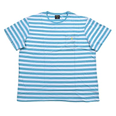 f3807028 Polo Ralph Lauren Mens Big and Tall Striped Pocket Tee (XLT, Turquoise Aqua/