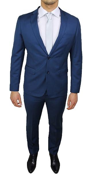 f920a9e74fa43 Abito uomo sartoriale blu completo vestito slim fit casual elegante   Amazon.it  Abbigliamento