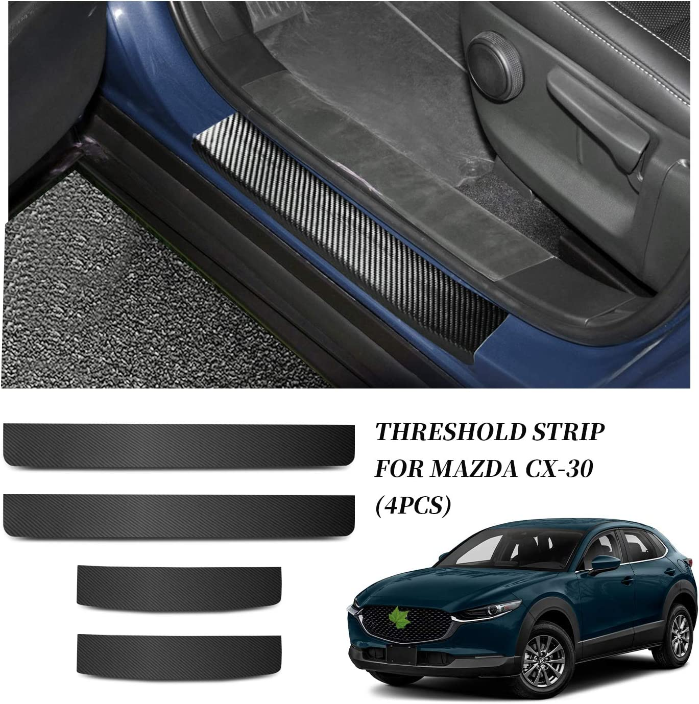 Carbon Fiber YEE PIN 4PCS Car Threshold Protection Sticker Door Sill Scuff Plate Cover Door Entry Guards Sticker Door Threshold Scratch Pad Film for Mazda CX-30 2019 2020