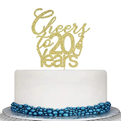 Glitter Cheers to 20 Years Cake Topper - 20th Birthday Wedding Anniversary Cake Topper -Happy 20th Birthday or Vow Renewal Party Decoration Supply Ideas: Toys & Games