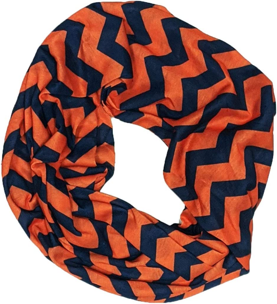 Navy /& Orange Chevron Infinity Scarf