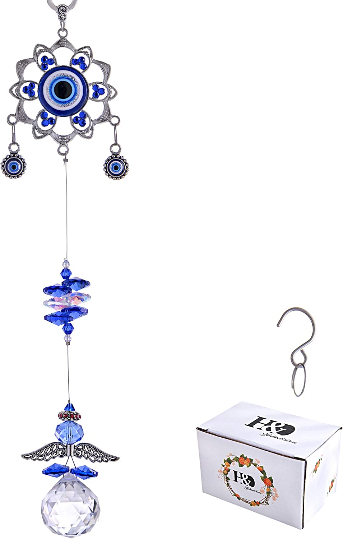 YU FENG Hanging Crystal Suncatchers Ornament Evil Eye Guardian Angel Decor Garden Suncatcher Prism Rainbow Maker Pendant: Home & Kitchen