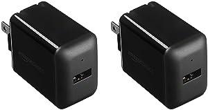 AmazonBasics One-Port USB Wall Charger (2.4 Amp) - Black (2-Pack)