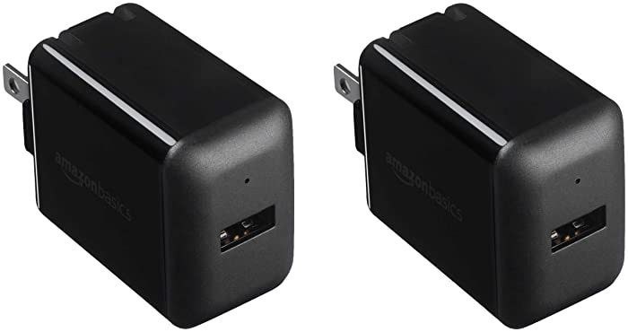 AmazonBasics One-Port USB Wall Charger (2.4 Amp) - Black (2-Pack)