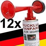 12 x Fanfare Druckluftfanfaren Gashupe Hupe Tröte Signal Stadion-fähige Hupe Air Horn - Trend-Time ® - Versand als DHL Paket