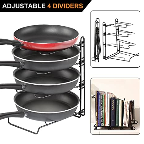 Amazon height adjustable pot pan and lid organizer rack gusgu height adjustable pot pan and lid organizer rack gusgu detachable cookware holders with 4 dividers workwithnaturefo