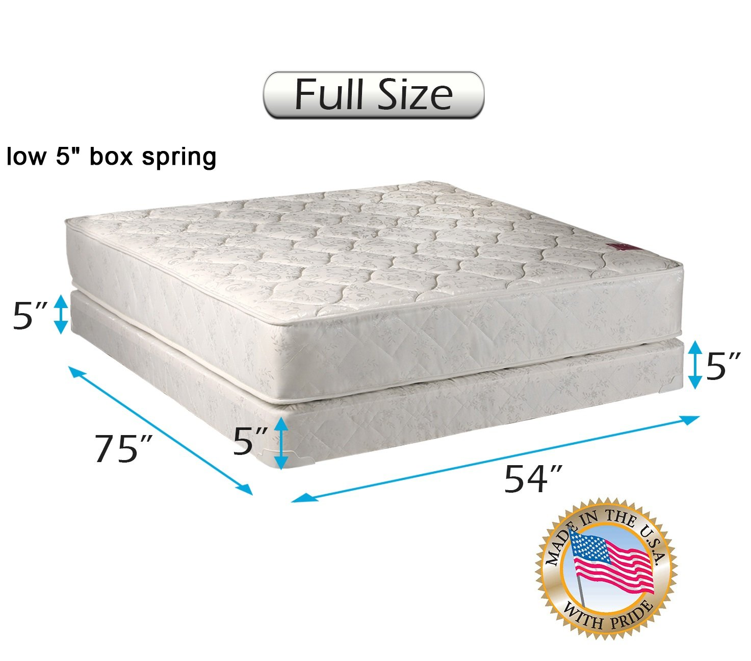 d92beff4da9 Amazon.com  Dream Solutions USA Legacy 2-Sided (Queen Size) Mattress and  Low Profile Box Spring Set with Bed Frame Included - Spine Support