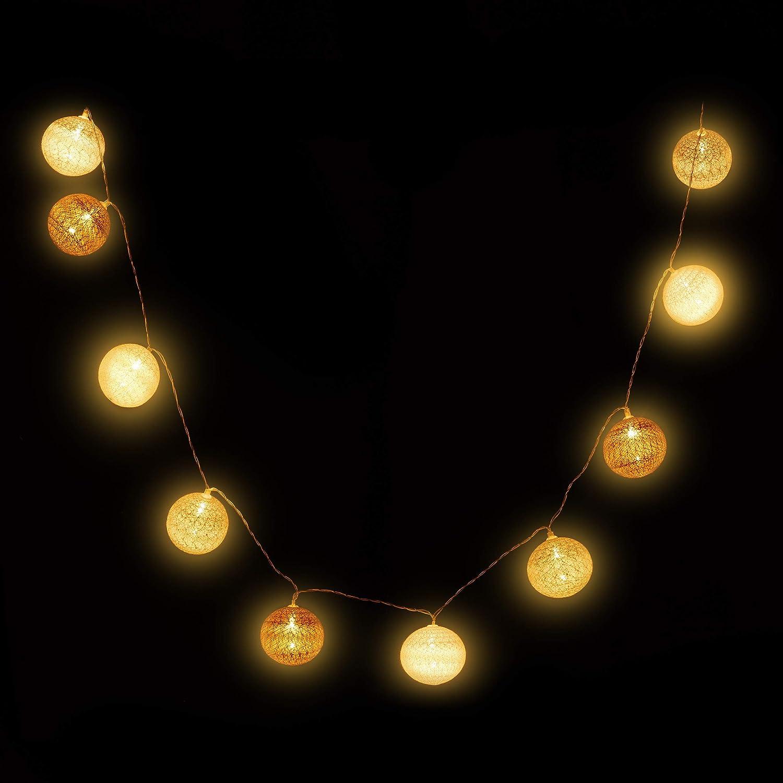 a Batteria Bianco-Grigio-Marrone 10 Sfere Luminose in Cotone Luci da 6 cm /Ø da Atmosfera Relaxdays Catena di Luci a LED