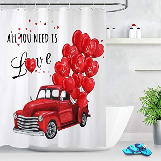 Valentine/'s Day Air Balloon Bicycle Roses Hello Love Fabric Shower Curtain Set