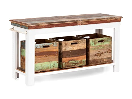 Woodkings Waschtisch Perth Recyceltes Holz Weiss Bunt Rustikal Mit